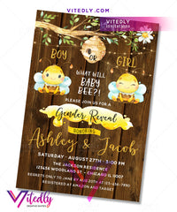 What will Baby Bee Gender Reveal Birthday Invitation Rustic