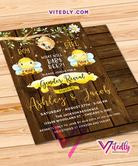 What will Baby Bee Gender Reveal Invitation Rustic