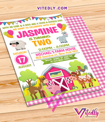 Farm Theme Party Invitations for girls, Barnyard Theme Party for girls, Farm Theme party for girls, Farm Themed birthday party, Barnyard invitations for girls