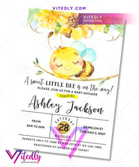 Bee baby shower birthday invitation