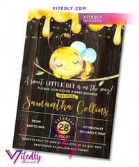Bumble Bee Baby Shower Birthday Invitation