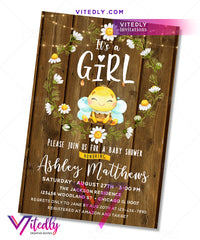 Honey Bee Baby Shower Birthday Invitation