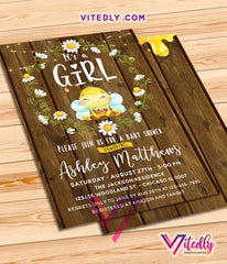 Honey Bee Baby Shower Invitations