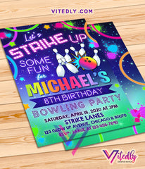 Bowling Invitations, Bowling Party Invitations, Rainbow Neon Glow Bowling Theme Party
