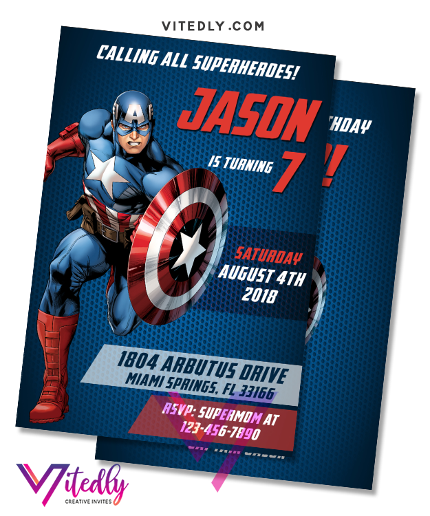 Captain America Birthday Invitation, Captain America Invitation