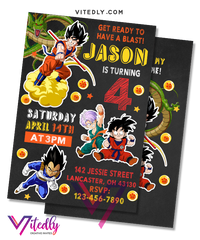 Dragon Ball Z Birthday Invitation with Free Thank You Card, Dragon Ball Z Invitation