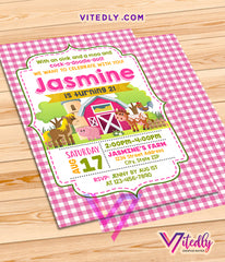 Barnyard Theme Party Invitations for girls, Farm Theme party for girls, Farm Themed birthday party for girls, Barnyard invitations for girls
