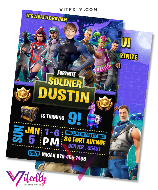 Fortnite Season 4 Invitation, Fortnite Season 4 Birthday Invitation