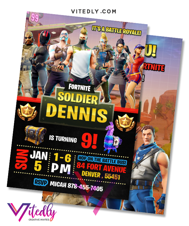 Fortnite Invitation Season 5, Fortnite Birthday Invitation Season 5