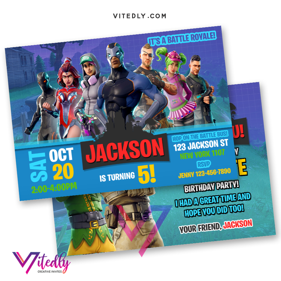 Fortnite Birthday Party Invitation, Fortnite Birthday Invite, Fortnite Invitations