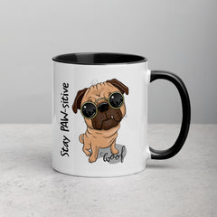 Stay PAW-sitive Pug Mug with Color Inside