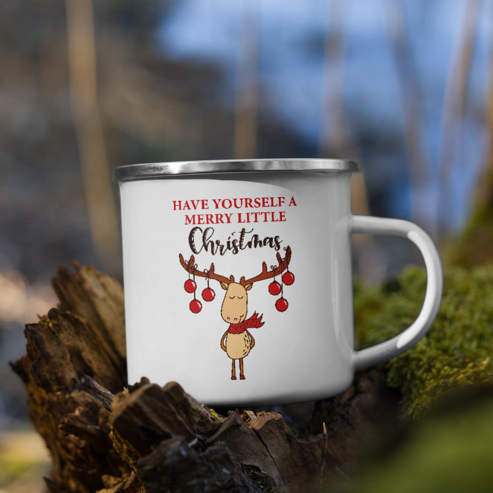 Have Yourself a Merry Little Christmas Enamel Mug, Christmas Gift Enamel Mug