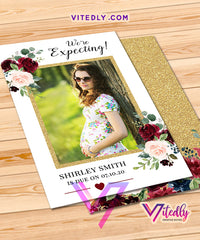 Burgundy Floral Pregnancy Announcement