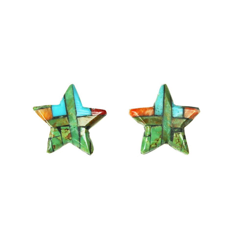 Green Turquoise Spiny Star Inlay Post Earrings