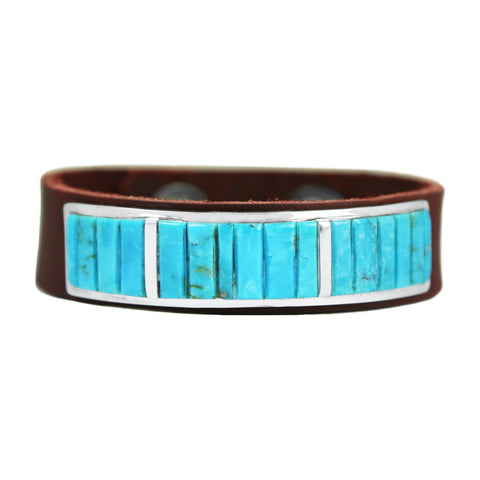 Blue Kingman Turquoise Inlay Brown Leather Bracelet