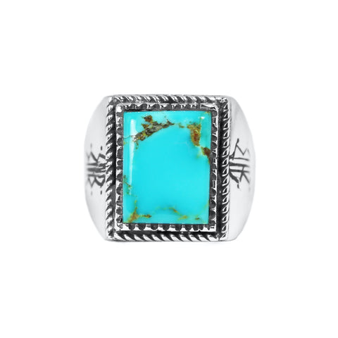 Square Kingman Turquoise Men's Ring