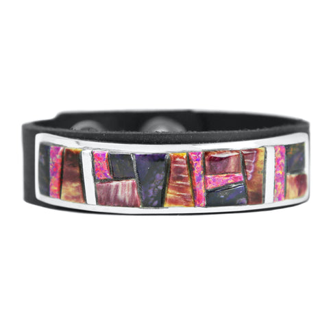 Purple Spiny Oyster & Sugilite Inlay Leather Bracelet