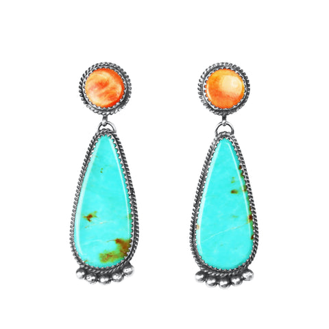 Kingman Turquoise & Orange Spiny Oyster Earrings