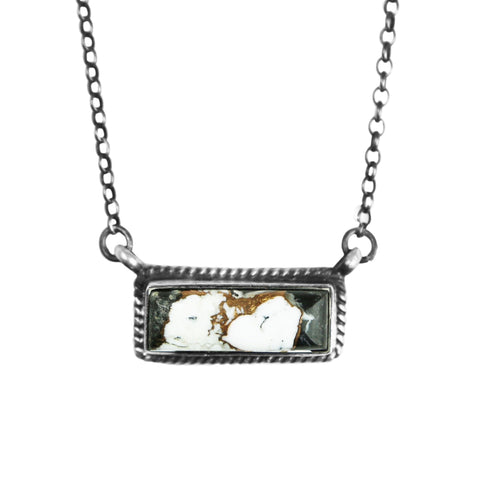 White Buffalo Silver Bar Necklace