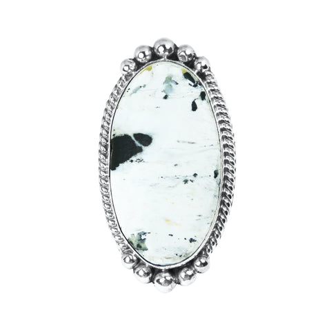 Long Oval White Buffalo Statement Ring