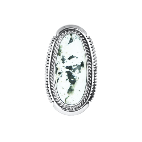 Medium Oval White Buffalo Silver Ring
