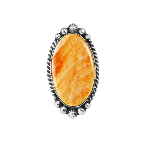 Oval Navajo Orange Spiny Oyster Ring
