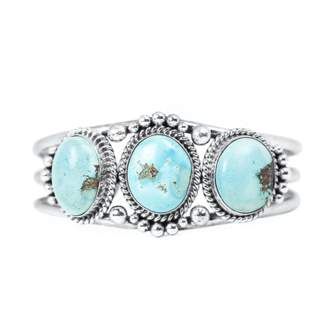 Three Stone Golden Hill Turquoise Cuff Bracelet