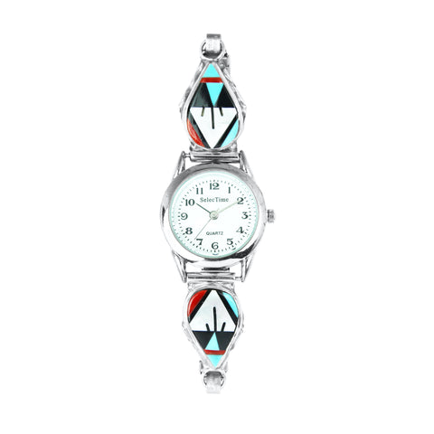 Zuni Turquoise & Coral Inlay Ladies Watch