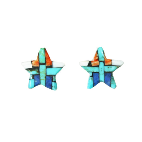 Turquoise Spiny Oyster Lapis Star Inlay Post Earrings