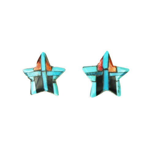 Turquoise Spiny Oyster Jet Inlay Star Post Earrings