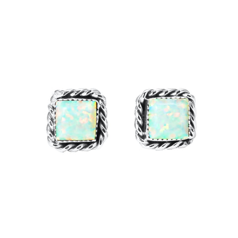 Square White Opal Post Earrings
