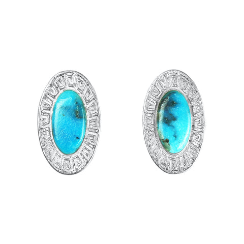 Oval Sandcast Silver Hopi Turquoise Post Earrings