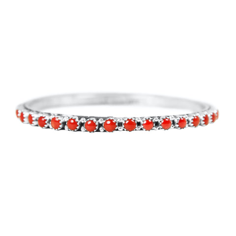Natural Coral Eternity Bangle Bracelet