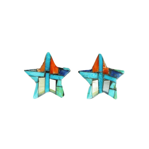 Turquoise Spiny Oyster Lapis Star Post Earrings