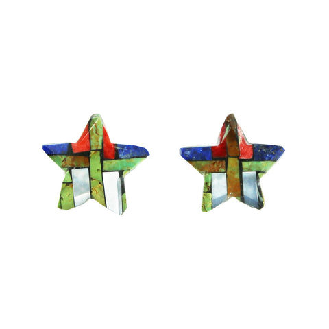 Green Kingman Lapis Spiny Oyster Star Inlay Post Earrings
