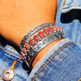 Single Row Coral Navajo Cuff Bracelet