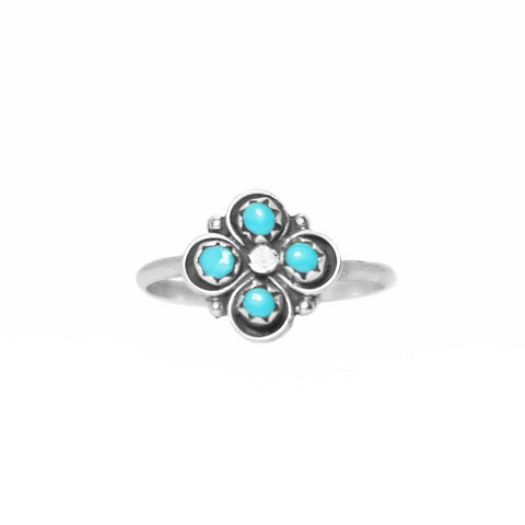 Zuni Flower Dot Turquoise Ring