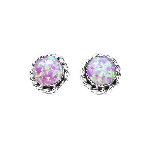 Round Light Pink Opal Post Earrings