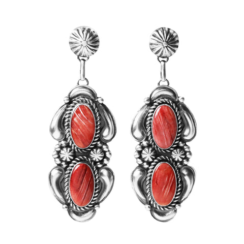 Red Spiny Oyster Long Concho Silver Earrings