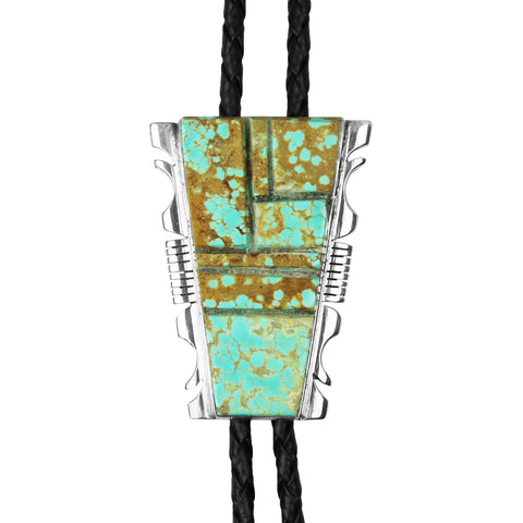 Number 8 Turquoise Cobblestone Inlay Bolo Tie