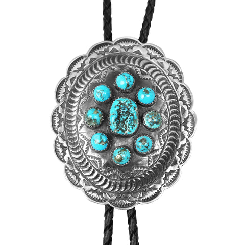 Oval Turquoise Stamped Silver Bolo Tie