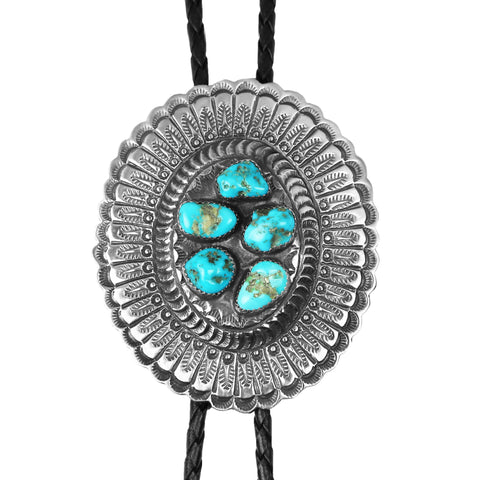 Oval Stamped Silver Kingman Turquoise Bolo Tie
