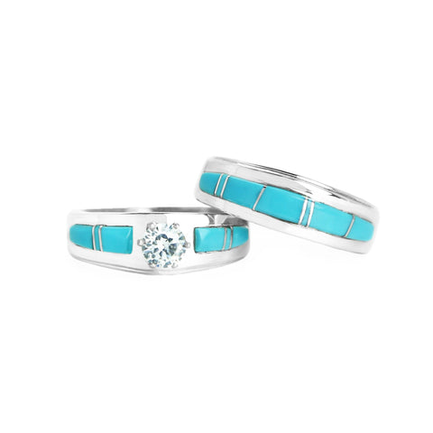 Turquoise Bridal Ring Set
