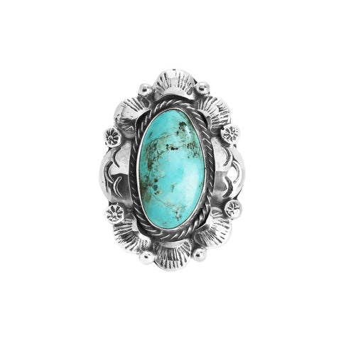 Navajo Royston Turquoise Fancy Border Ring - Stone 1