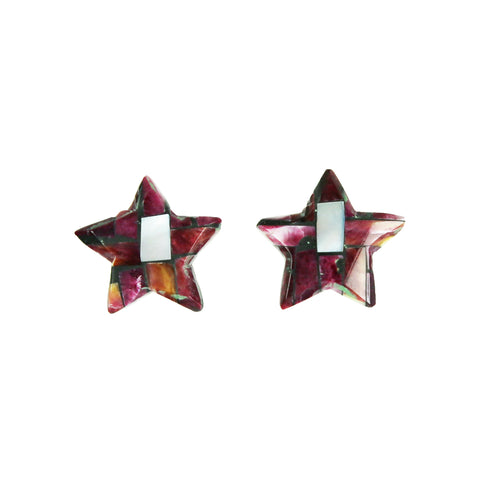 Purple Spiny Oyster Mosaic Star Inlay Post Earrings
