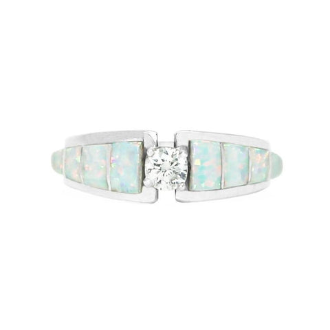 Opal Inlay Tapered Bridal Ring