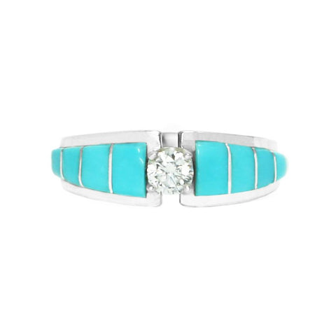 Turquoise Inlay Tapered Bridal Ring