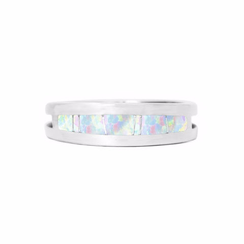 Men's Opal Inlay Wedding Band