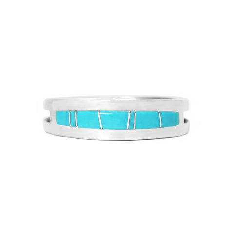 Men's Turquoise Inlay Wedding Band