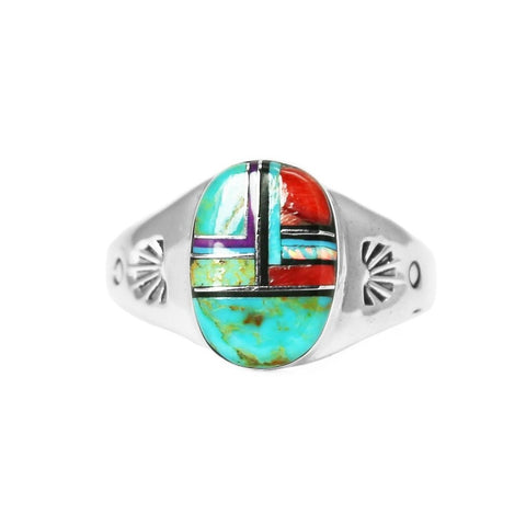Men's Oval Multi Stone Inlay Ring - Style 1